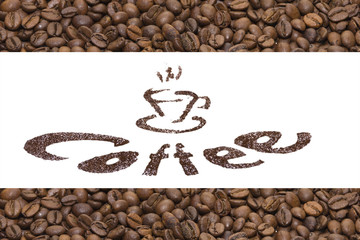 publicity of coffee. text with ground coffee and background with