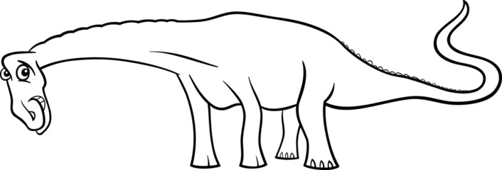cartoon diplodocus dinosaur for coloring book