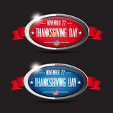 Thanksgiving day button set - red, blue