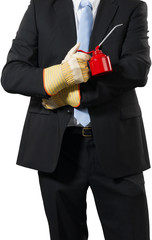businessman with an oil can