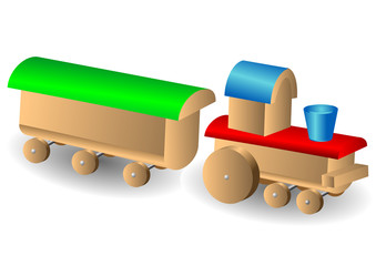 Wooden children's locomotive with wagon