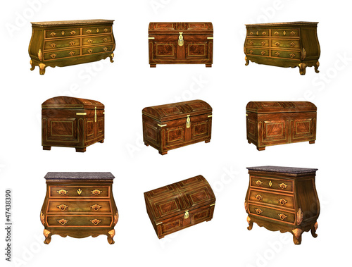 Antique chest of drawers and dower chest isolated. 3D image