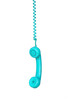 Turquoise telephone cable hanging