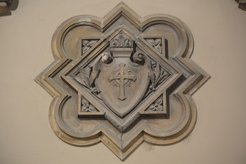exterior symbol on the wall of the Stavropoleos Monastery