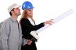 Female architect stood with decorator