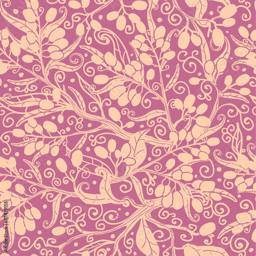 Vector buckthorn berries seamless pattern background with hand