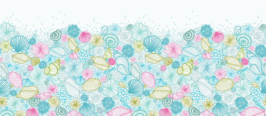 Vector seashells line art horizontal seamless pattern ornament