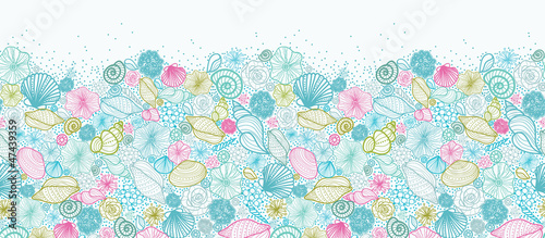 Vector seashells line art horizontal seamless pattern ornament - 47439359