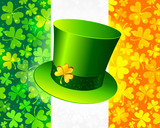 Saint Patrick's hat on Irish flag made from lucky magic clovers