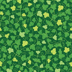 Vector green ivy plants seamless pattern background with hand