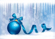 Holiday background with blue gift bow with gift ball. Vector ill