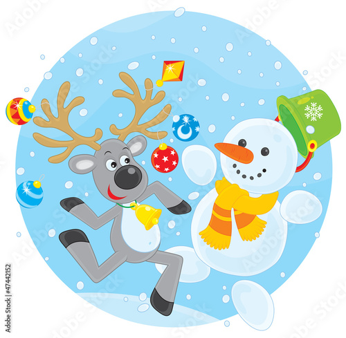 Reindeer and Snowman dancing
