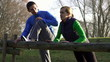 Couple exercising outdoors, super slow motion, shot at 240fps