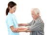 笑顔の介護士と高齢者
