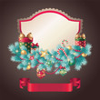 vintage christmas greeting card ribbon banner
