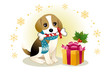 クリスマス プレゼント ビーグル 子犬 ペット イラスト