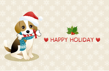 クリスマス メッセージ ビーグル サンタ帽 子犬 マフラー イラスト