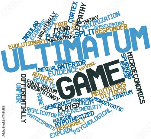 Word cloud for Ultimatum game