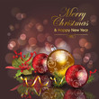 Abstract christmas background with red & gold baubles