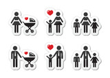 Single parent sign - family icons as labels