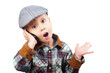 boy in a cap on the phone