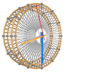 Hamsterrad in Konzept mit einer Uhr - 3D