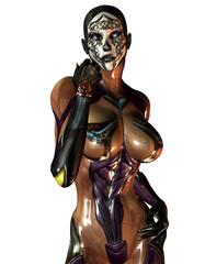 Maskierte Frau im Plastik Overall