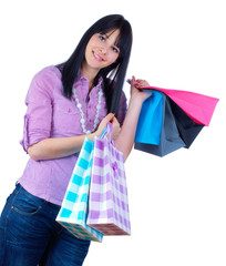 WOman with shopping bags, isolated on white