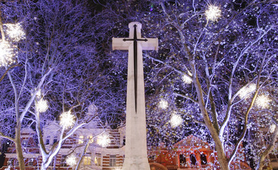 Christmas Lights Display over the cross