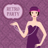 Retro party invitation card pretty flapper girl 20s