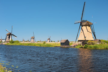 Windmills at Kinderdijk in summer