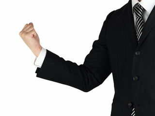 A business man pumping his fist into the air white background