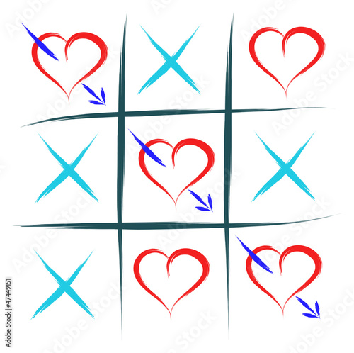 tic tac toe with hearts love win