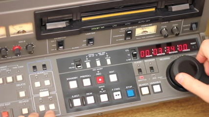 Editor working on Betacam Sp recorder