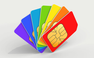 Colorful phone SIM cards in a deck
