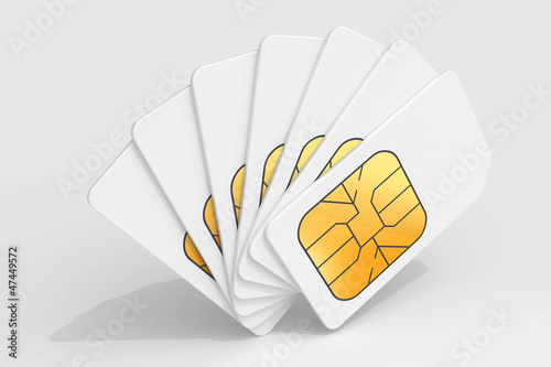 White phone SIM cards in a deck