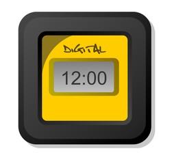 Relógio Digital Preto e Amarelo