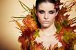 Autumn Woman. Fall. Beautiful Stylish Girl With Professional Mak