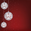 Christmas card with white lace baubles