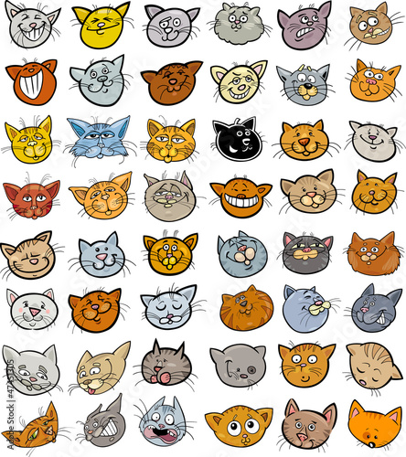 Cartoon funny cats heads big set