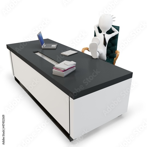 3d man businessman at desk