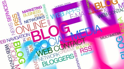 Blog social media blogging word tag cloud animation