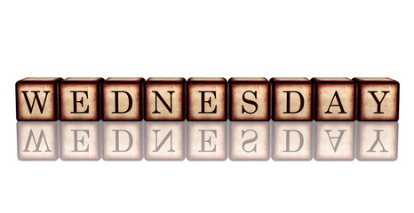 wednesday in 3d wooden cubes banner