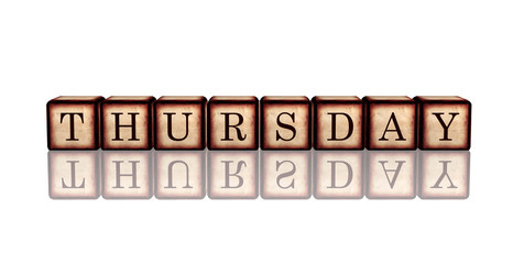 thursday in 3d wooden cubes banner