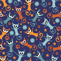 Seamless pattern wtih funny cats