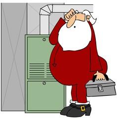 Santa fixing a furnace