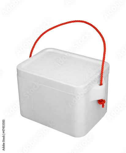 Styrofoam cooler box isolated on white background