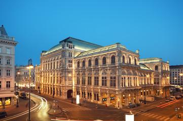 Vienna Opera House at night.