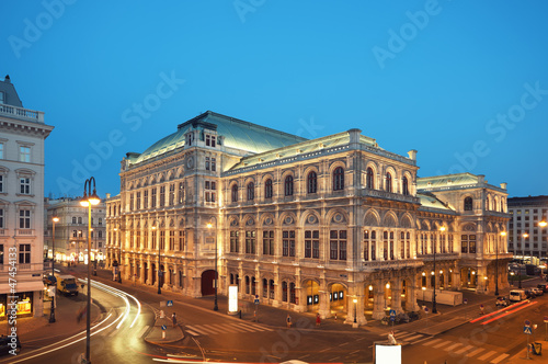 Vienna Opera House at night.
