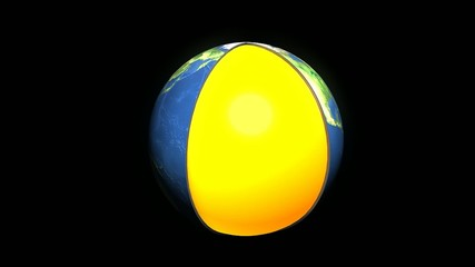 Educational animation, Earth layers. Matte.